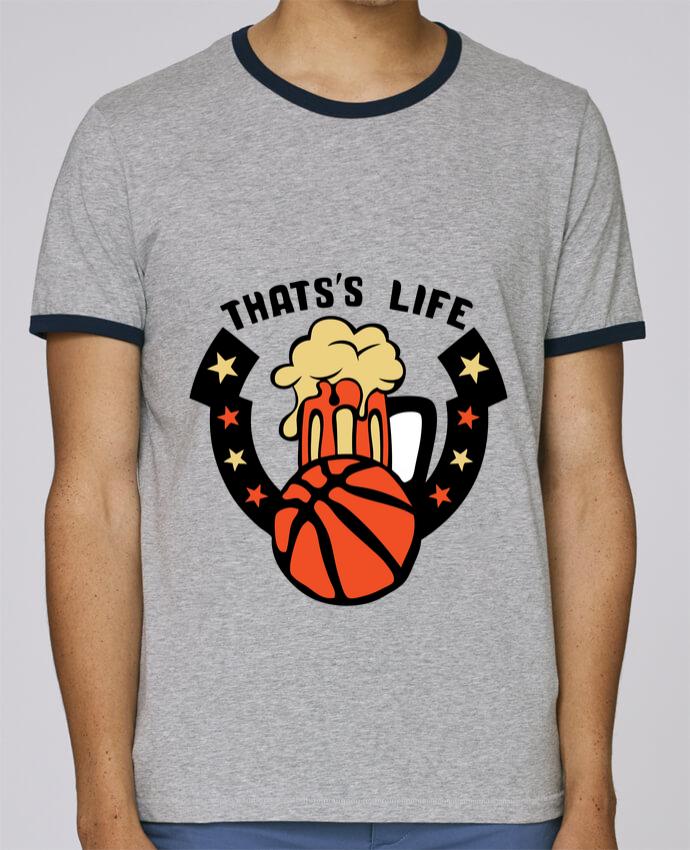 T-Shirt Ringer Contrasté Homme Stanley Holds basketball biere citation thats s life message pour femme par Achille