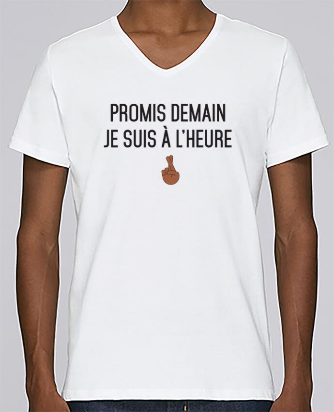 T-shirt Col V Homme Stanley Relaxes Promis demain je suis à l'heure - black version par tunetoo