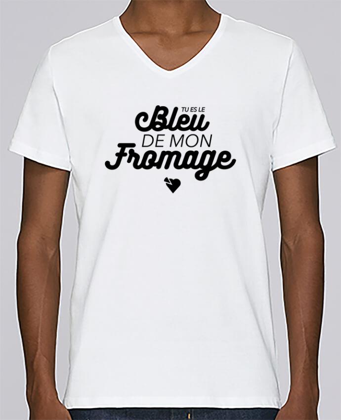 T-shirt Col V Homme Stanley Relaxes Tu es le bleu de mon fromage Col V homme par tunetoo