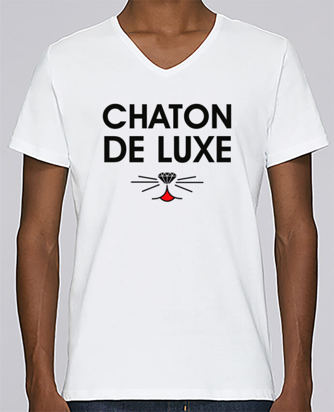 T-shirt Col V Homme Stanley Relaxes Chaton de luxe par tunetoo