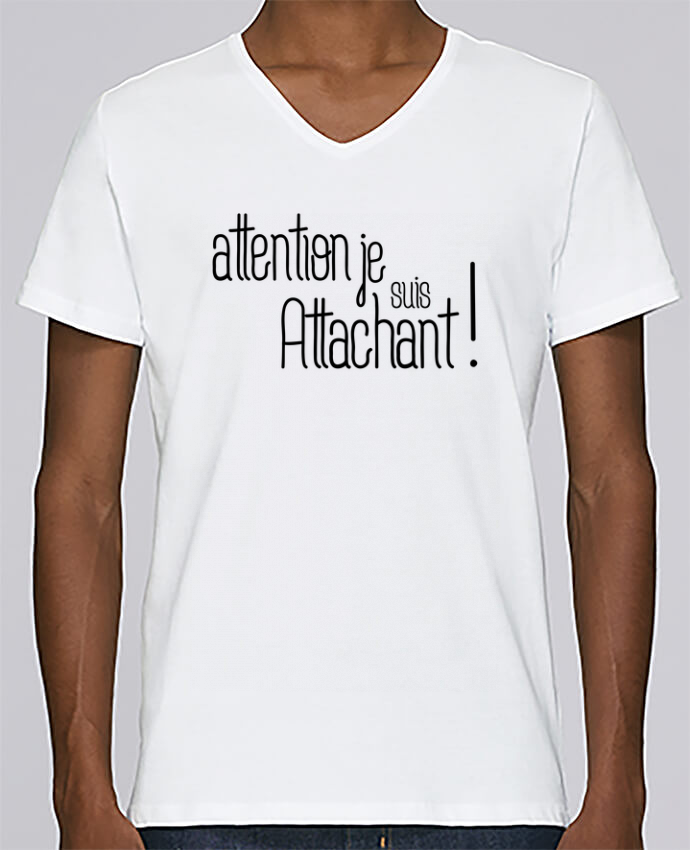 T-shirt Col V Homme Stanley Relaxes Attention je suis attachant ! par tunetoo