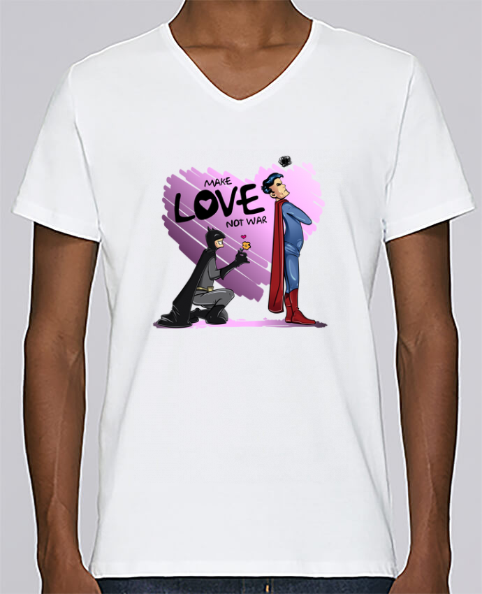 T-shirt Col V Homme Stanley Relaxes MAKE LOVE NOT WAR (BATMAN VS SUPERMAN) par teeshirt-design.com