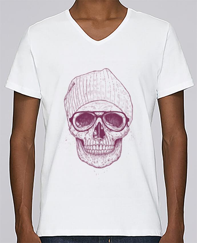 T-shirt Col V Homme Stanley Relaxes Cool Skull par Balàzs Solti