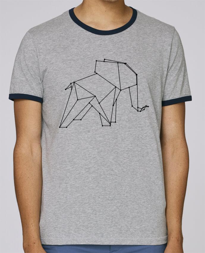 T-Shirt Ringer Contrasté Homme Stanley Holds Origami elephant pour femme par /wait-design
