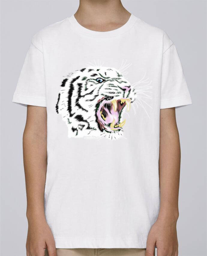 Tee Shirt Garçon Stanley Mini Paint Tigre blanc rugissant par Cameleon