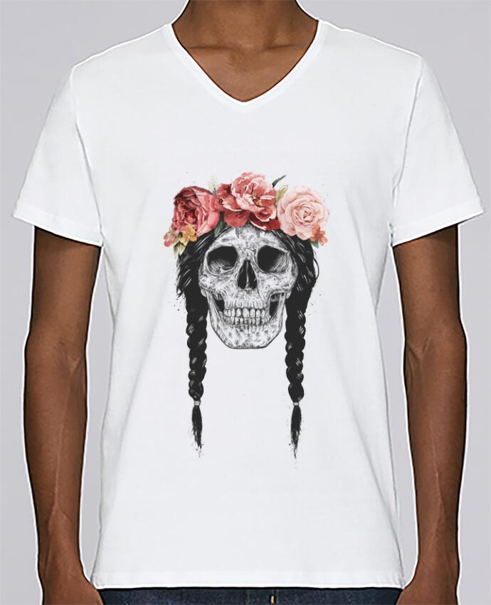 T-shirt Col V Homme Stanley Relaxes Festival Skull par Balàzs Solti