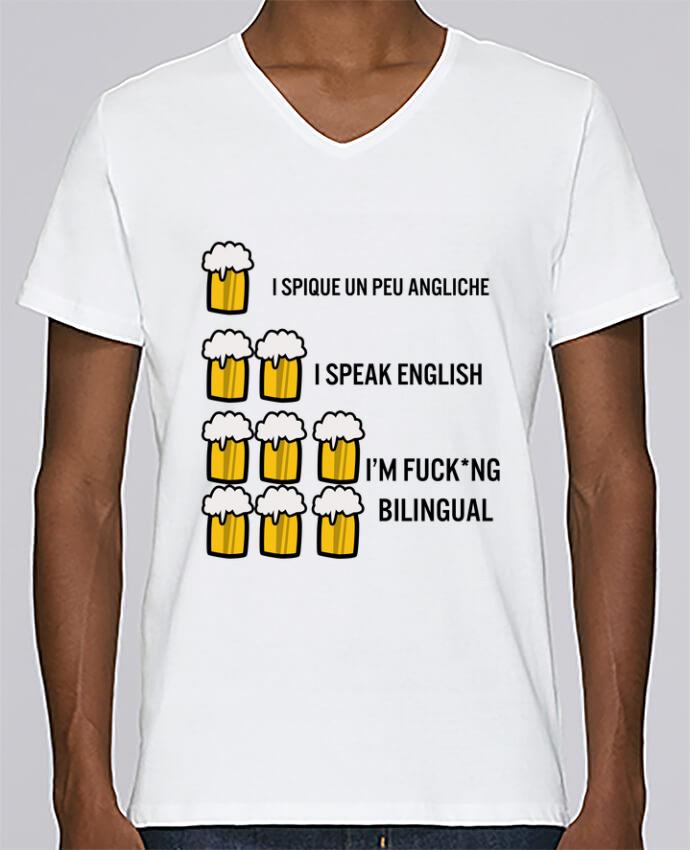 T-shirt Col V Homme Stanley Relaxes I'm bilingual par Kudice