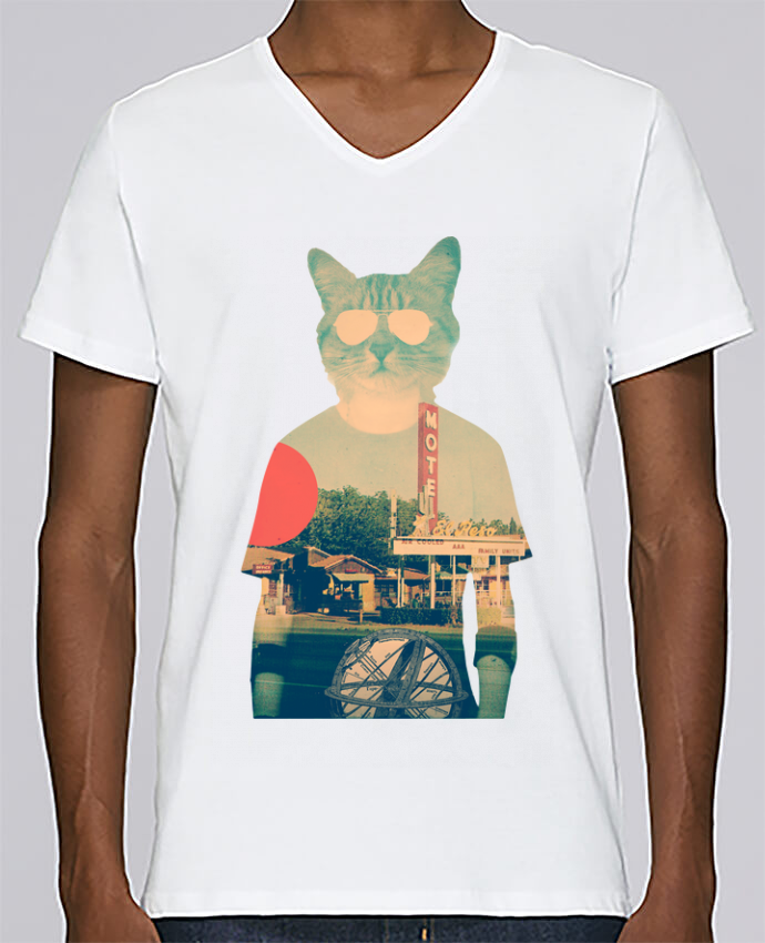 T-shirt Col V Homme Stanley Relaxes Cool cat par ali_gulec