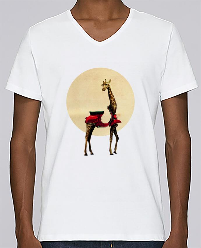 T-shirt Col V Homme Stanley Relaxes Giraffe par ali_gulec