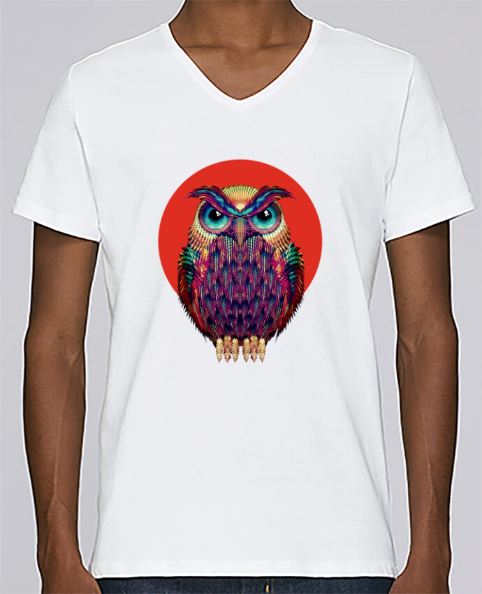 T-shirt Col V Homme Stanley Relaxes Owl par ali_gulec