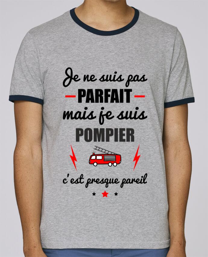 T-Shirt Ringer Contrasté Homme Stanley Holds Je ne suis pas parfait mais je suis pompier c'est presque pareil pour femme par Benichan