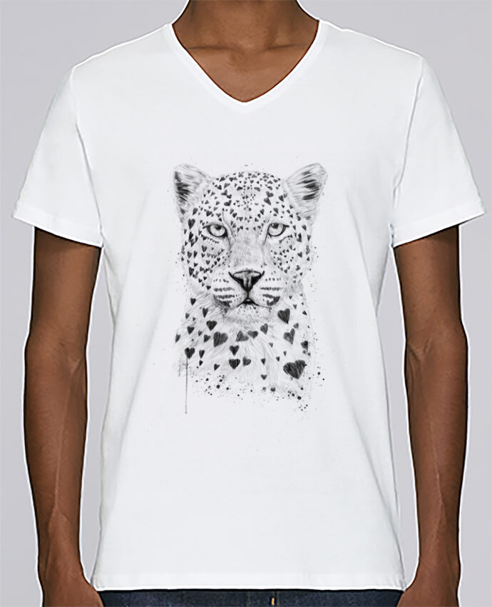 T-shirt Col V Homme Stanley Relaxes lovely_leopard par Balàzs Solti