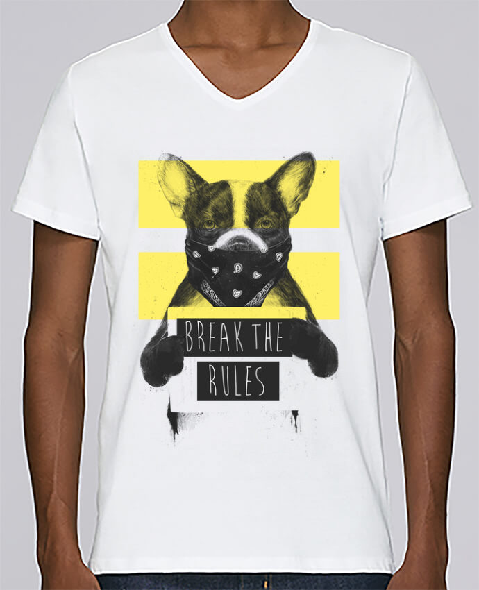T-shirt Col V Homme Stanley Relaxes rebel_dog_yellow par Balàzs Solti