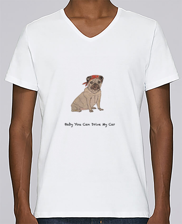 T-shirt Col V Homme Stanley Relaxes BABY YOU CAN DRIVE MY CAR par La Paloma