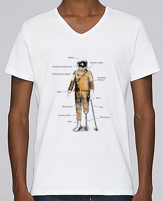 T-shirt Col V Homme Stanley Relaxes Astropirate with text par Florent Bodart