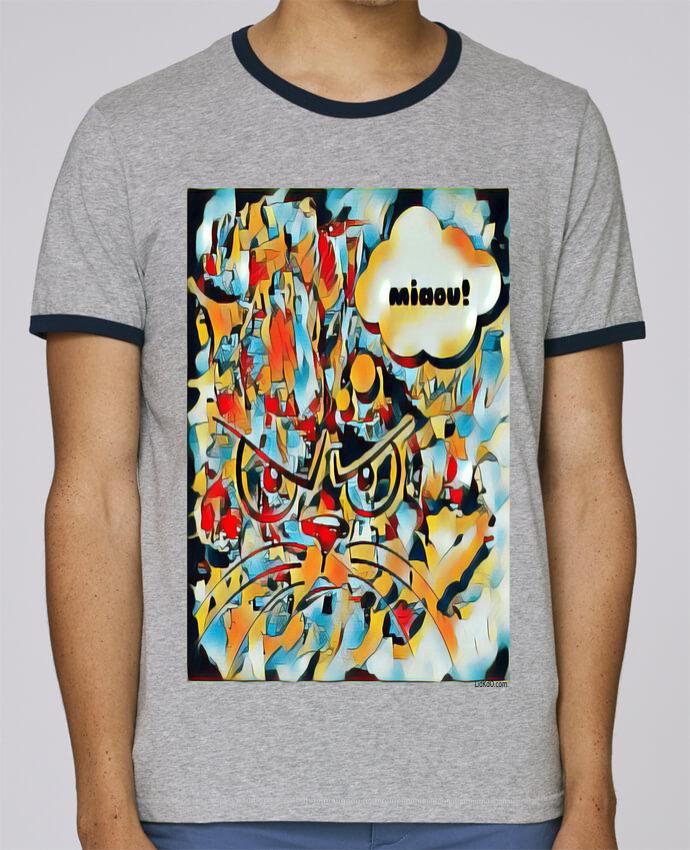 Shirt Lidkdo Pour Jerems Miaou Par Stanley Femme Holds Chat T Homme Ringer Contrasté Dessin fgYb76y