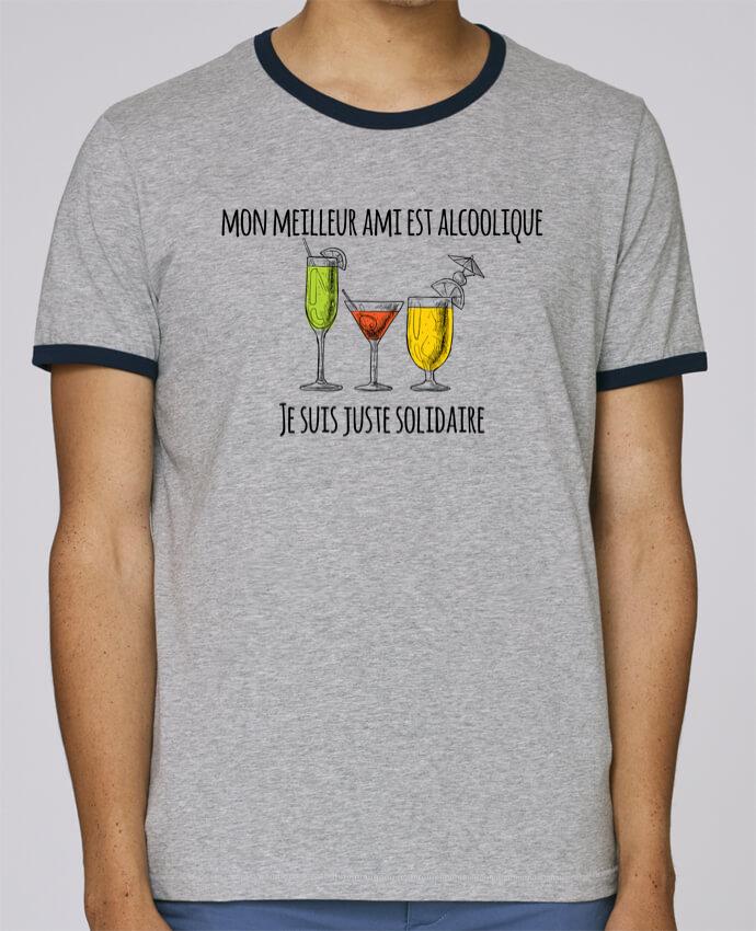 T-Shirt Ringer Contrasté Homme Stanley Holds Mon meilleur ami est alcoolique et je suis juste solidaire pour femme par tunetoo