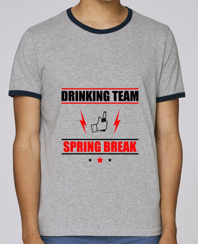 T-Shirt Ringer Contrasté Homme Stanley Holds Drinking Team Spring Break pour femme par Benichan
