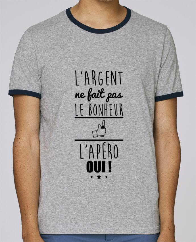 T-Shirt Ringer Contrasté Homme Stanley Holds L'argent ne fait pas le bonheur l'apéro oui ! pour femme par Benichan