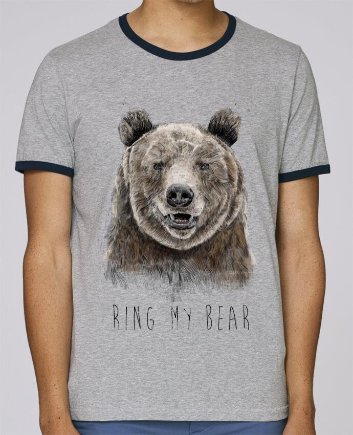 T-Shirt Ringer Contrasté Homme Stanley Holds Ring my bear pour femme par Balàzs Solti