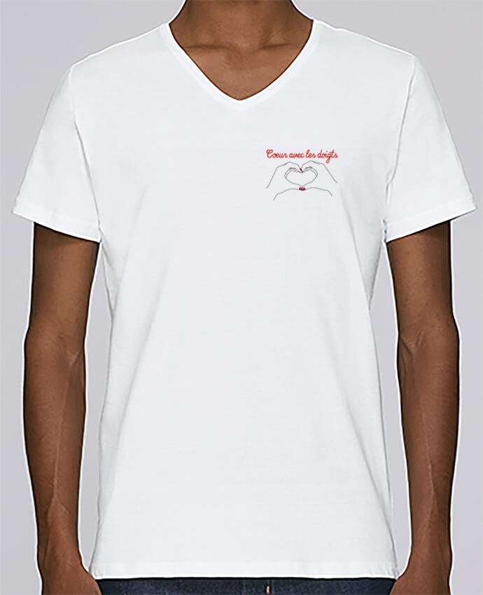 T-shirt Col V Homme Stanley Relaxes Coeur avec les doigts par WBang