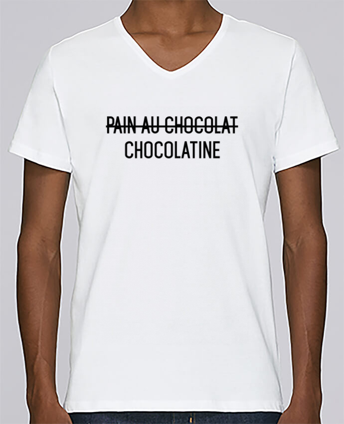 T-shirt Col V Homme Stanley Relaxes Chocolatine par tunetoo