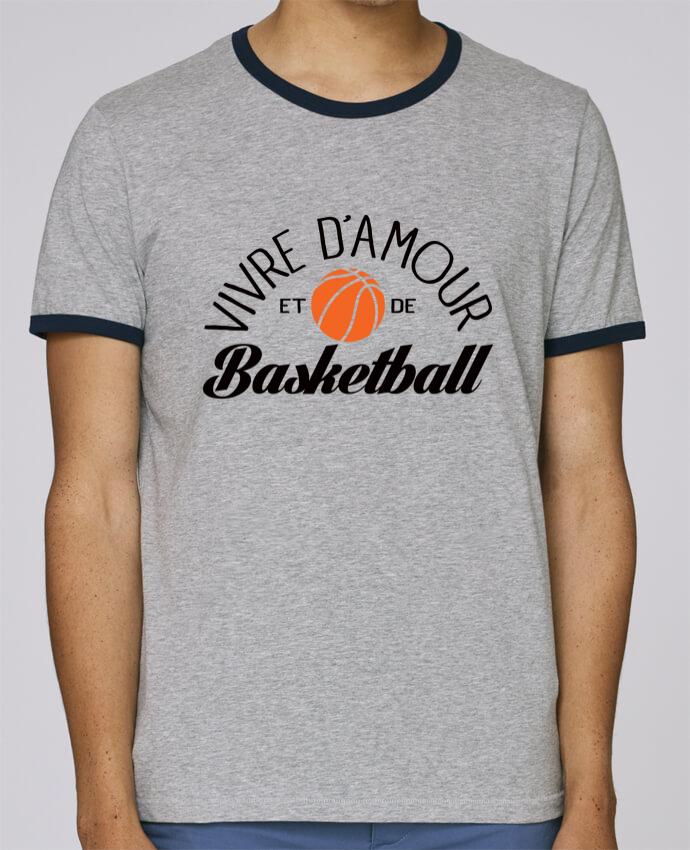T-Shirt Ringer Contrasté Homme Stanley Holds Vivre d'Amour et de Basketball pour femme par Freeyourshirt.com