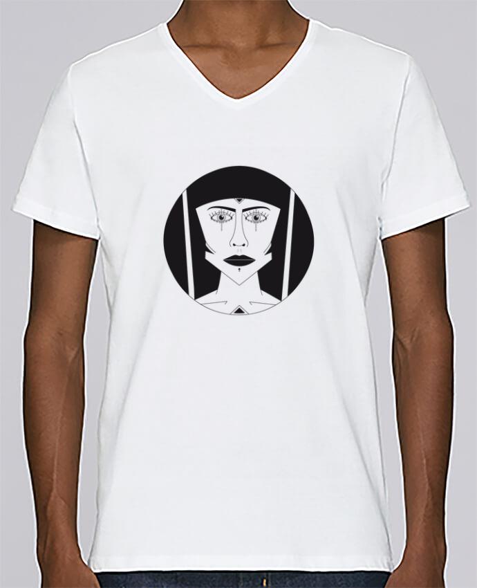 T-shirt Col V Homme Stanley Relaxes Visage géométrique par Ambrestr
