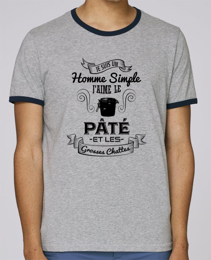 T-Shirt Ringer Contrasté Homme Stanley Holds Je suis un homme simple, j'aime le pâté et les grosses chates pour femme par tunetoo
