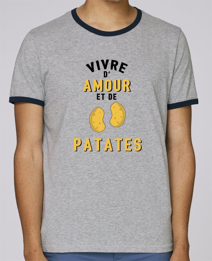 T-Shirt Ringer Contrasté Homme Stanley Holds Vivre d'amour et de patates pour femme par tunetoo
