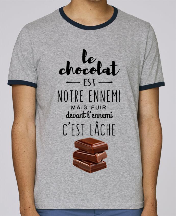 T-Shirt Ringer Contrasté Homme Stanley Holds chocolat pour femme par DesignMe