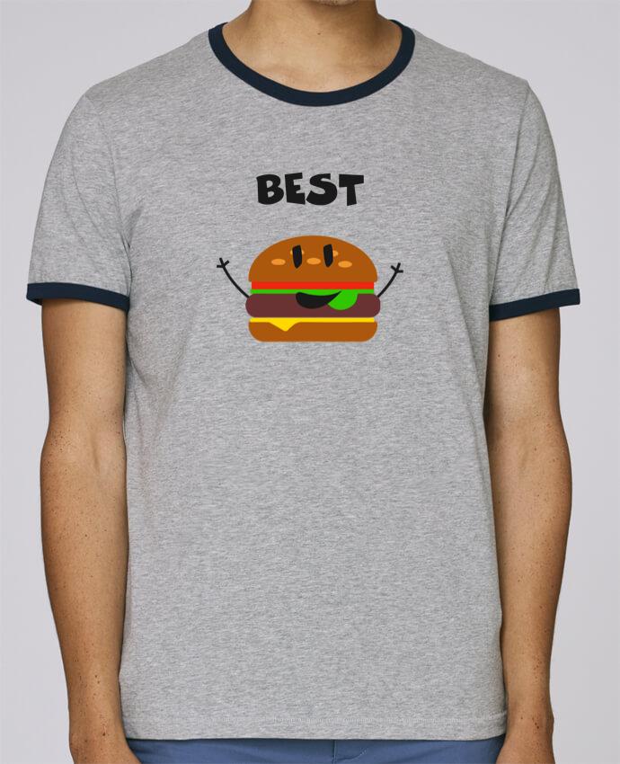 T-Shirt Ringer Contrasté Homme Stanley Holds BEST FRIENDS BURGER 1 pour femme par tunetoo