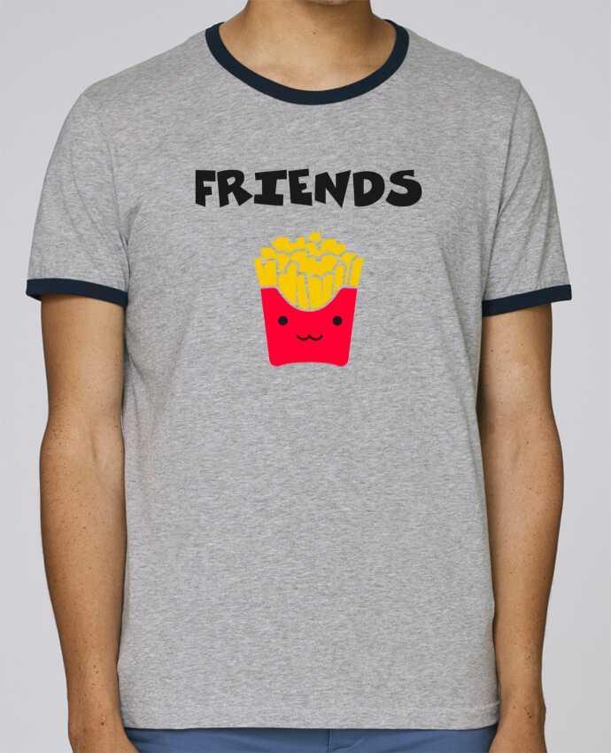 T-Shirt Ringer Contrasté Homme Stanley Holds BEST FRIENDS FRIES pour femme par tunetoo