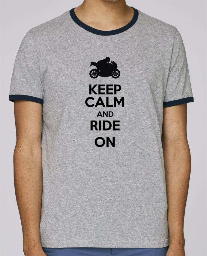 T-Shirt Ringer Contrasté Homme Stanley Holds Keep calm Moto pour femme par Original t-shirt