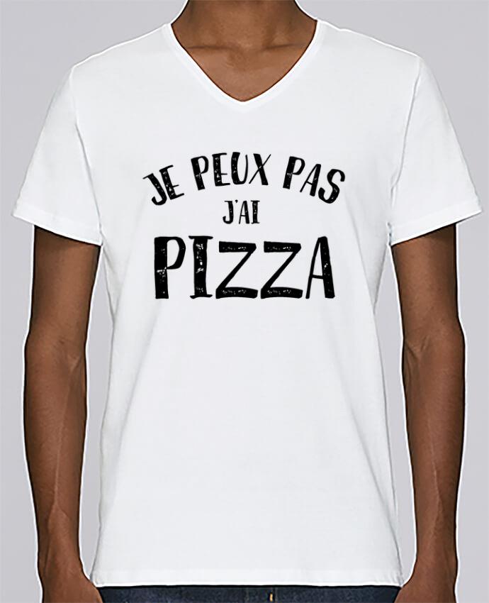 T-shirt Col V Homme Stanley Relaxes Je peux pas j'ai Pizza par L'Homme Sandwich