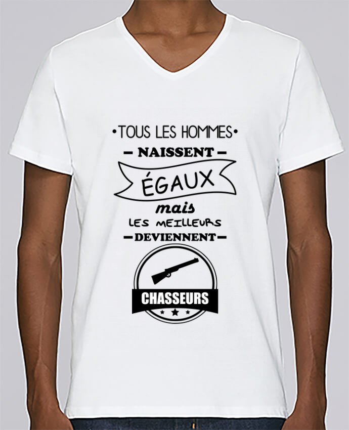 T-shirt Col V Homme Stanley Relaxes Tous les hommes ... les meilleurs deviennent chasseurs,chasseur,chasse pa