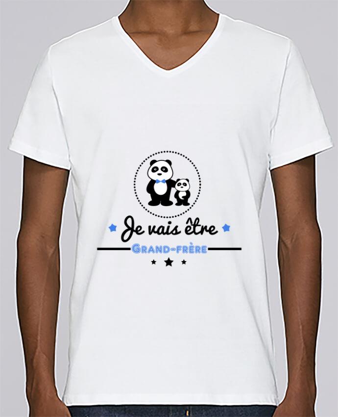 T-shirt Col V Homme Stanley Relaxes Bientôt grand-frère - futur grand frère par Benichan