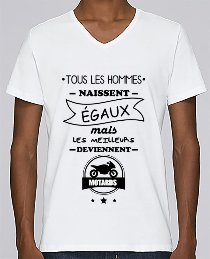 T-shirt Col V Homme Stanley Relaxes Tous les hommes ... les meilleurs deviennent motard, moto par Benichan