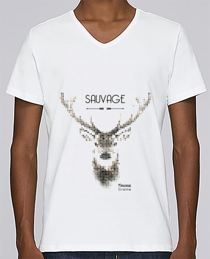 T-shirt Col V Homme Stanley Relaxes Tête de cerf sauvage par Mauvaise Graine