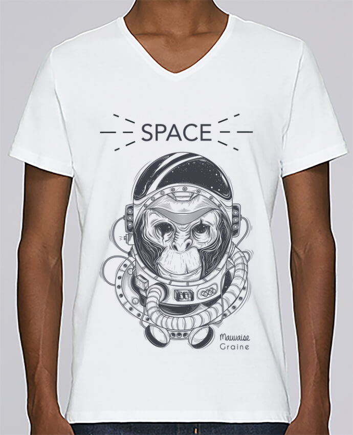 T-shirt Col V Homme Stanley Relaxes Monkey space par Mauvaise Graine