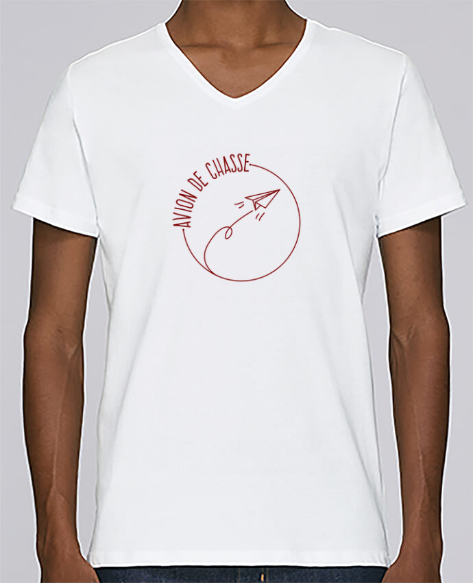 T-shirt Col V Homme Stanley Relaxes Avion de Chasse - Rouge par AkenGraphics