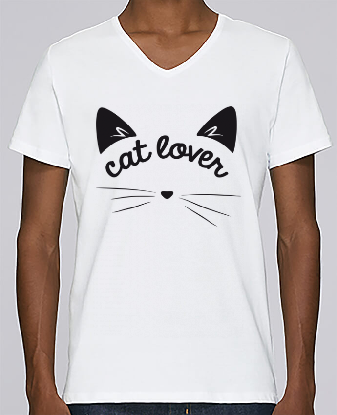 T-shirt Col V Homme Stanley Relaxes Cat lover par FRENCHUP-MAYO