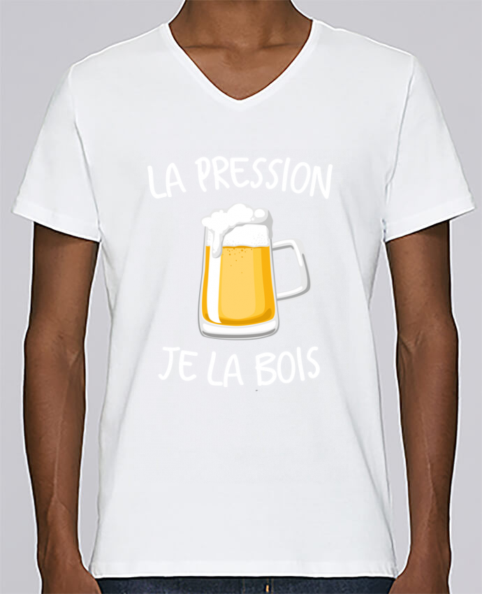 T-shirt Col V Homme Stanley Relaxes La pression je la bois par FRENCHUP-MAYO
