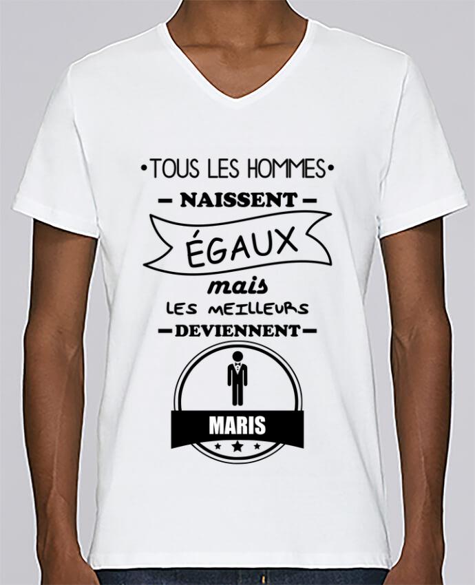 T-shirt Col V Homme Stanley Relaxes Tous les hommes naissent égaux mais les meilleurs deviennent maris, mari,