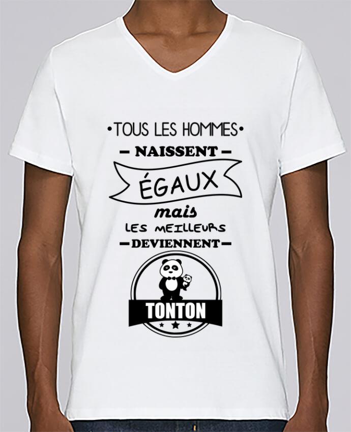 T-shirt Col V Homme Stanley Relaxes Tous les hommes naissent égaux mais les meilleurs deviennent tonton, tont
