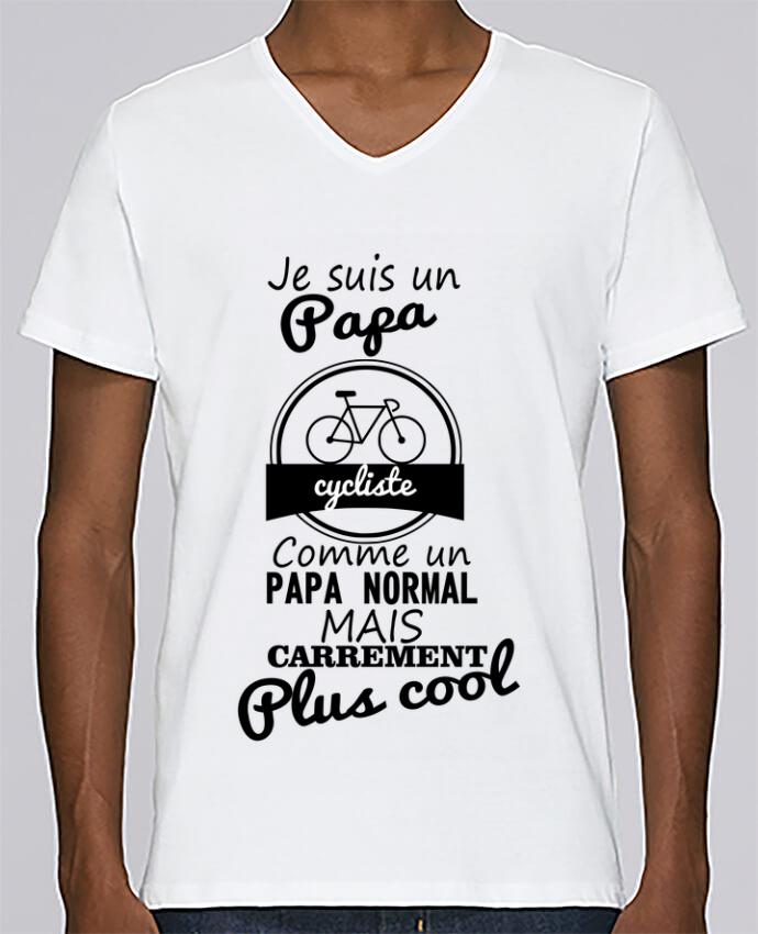 T-shirt Col V Homme Stanley Relaxes Je suis un papa cycliste comme un papa normal mais carrément plus cool pa