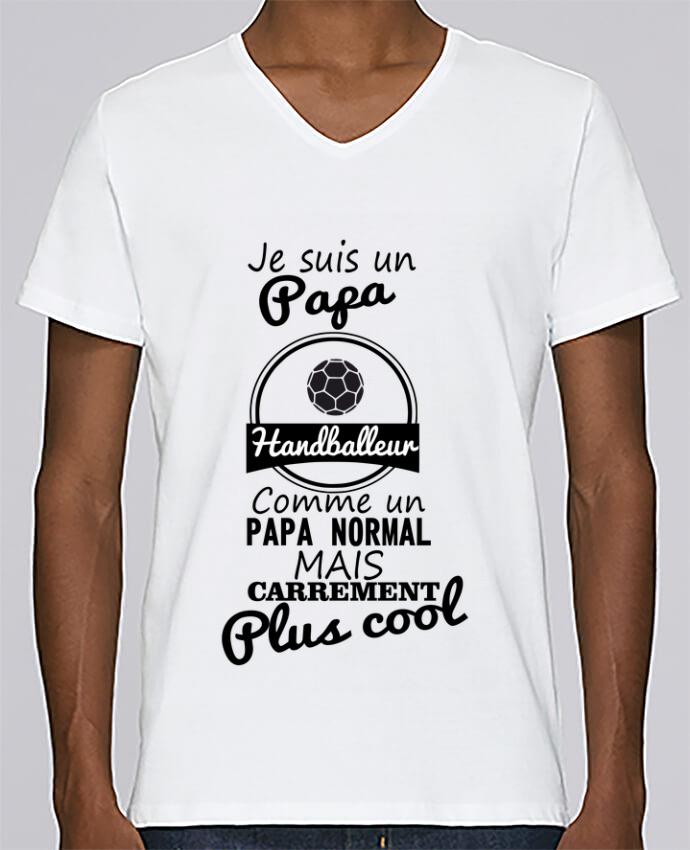 T-shirt Col V Homme Stanley Relaxes Je suis un papa handballeur comme un papa normal mais carrément plus cool