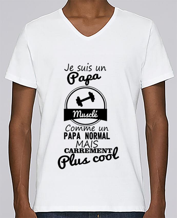 T-shirt Col V Homme Stanley Relaxes Je suis un papa musclé comme un papa normal mais carrément plus cool par