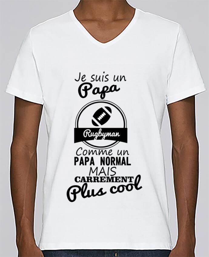 T-shirt Col V Homme Stanley Relaxes Je suis un papa rugbyman comme un papa normal mais carrément plus cool pa
