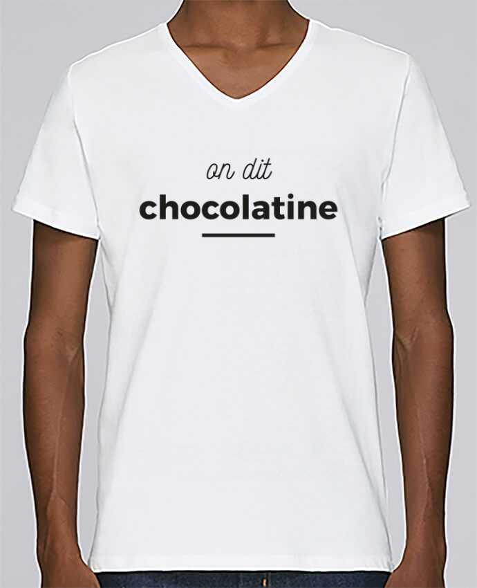 T-shirt Col V Homme Stanley Relaxes On dit chocolatine par Ruuud